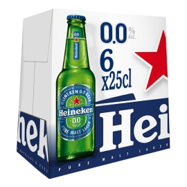 CERVEZA HEINEKEN SIN ALCOHOL 25 CL  PACK 6 CRISTAL